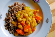 veggie chickpea butternut squash stew with buckwheat