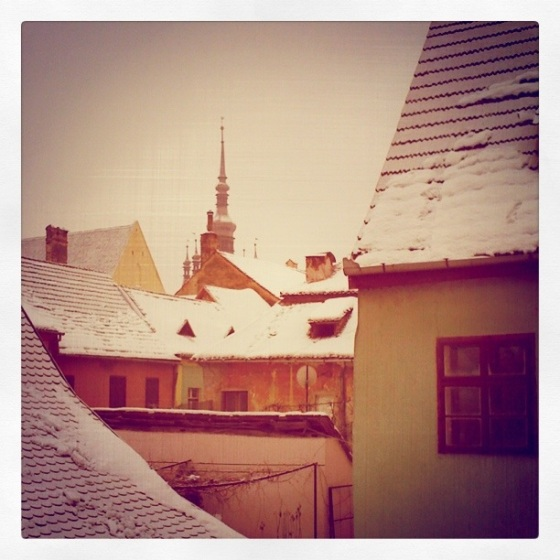 view from our hostel window in sighisoara