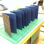 two tone accordion book with tipped on folios and covered with hand-backed cloth