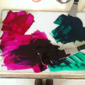 a swampy color mixing mess (I swear i'm usually tidier)