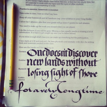 the four hands we learned over the semester: textura, fraktur, bastarde, and gothic cursive